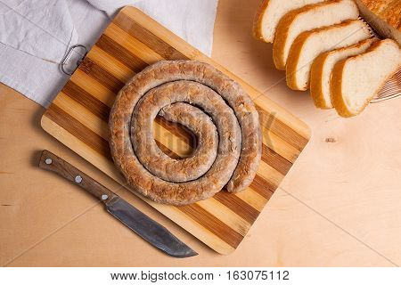Baked Traditional Homemade Sausage With Spices And Herbs..