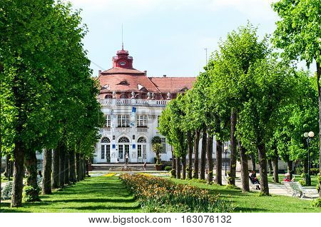 KARLOVY VARY, CZECH REPUBLIC - MAY 13, 2016: SPA 5 with a garden -side view