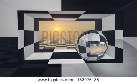 An abstract background with crystal ball on checkered hall sunset 3d illustration.