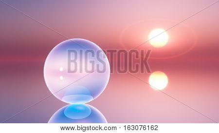 an abstract background crystal ball on horizon sun 3d illustration.
