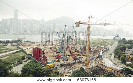Large-scale construction in the city. View on cityscape