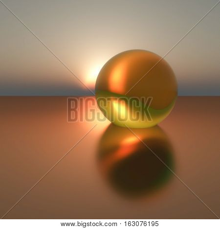 An abstract background with gold pearl on calm sea sunset 3d illustration.