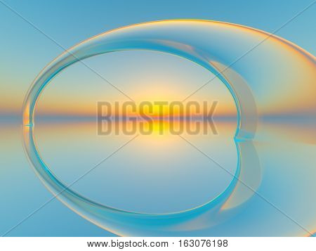 An abstract background crystal arch in water over horizon sun 3d illustration.