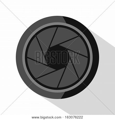 Photographic objective icon. Flat illustration of photographic objective vector icon for web