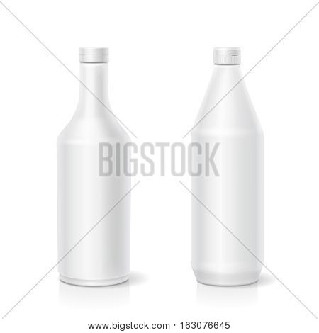 White ketchup mayonnaise mustard blank different plastic bottles template isolated vector illustration
