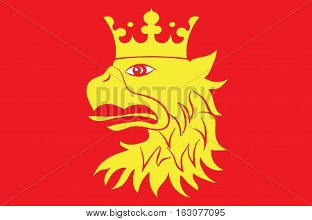Flag of Scania is the southernmost county of Sweden. Vector illustration