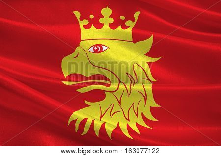 Flag of Scania is the southernmost county of Sweden. 3d illustration