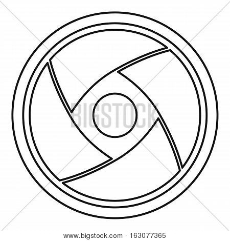 Camera lens icon. Outline illustration of camera lens vector icon for web