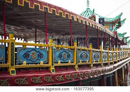 Part of colorful chinese tourist ship for tourists