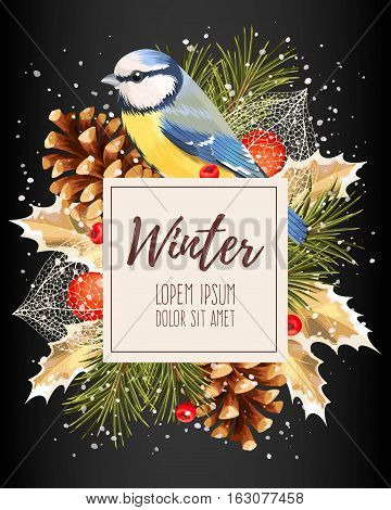 Vector card with winter cherry, pine and tomtit