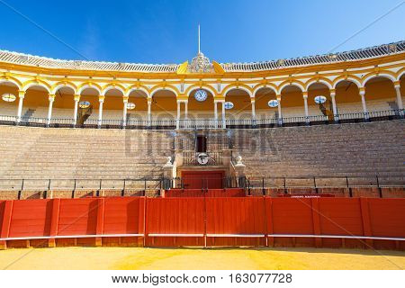 Seville Spain - November 192016: Bullfight arena plaza de toros at Sevilla.During the annual Seville Fair in Seville it is the site of one of the most well known bullfighting festivals in the world.