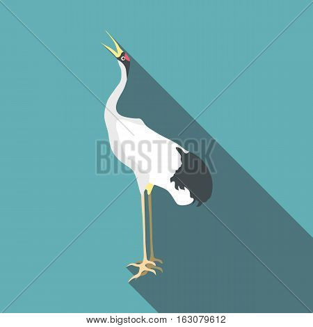 Chinese crane icon. Flat illustration of chinese crane vector icon for web