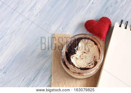 Dessert Tiramisu In A Jar With Notebook