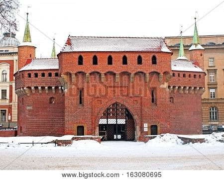 Barbican in Krakow in the winter, Poland