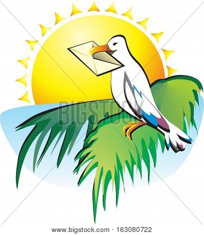 You have received a letter. Seagull sitting on a palm tree on a background of the sea and the southern sun. She brought a message.