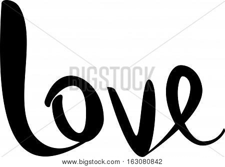 text - ''love ''  Lovely text. Romantic type.  Modern brush calligraphy. Handwritten ink lettering. Isolated on white background. Hand drawn lettering element for your design.