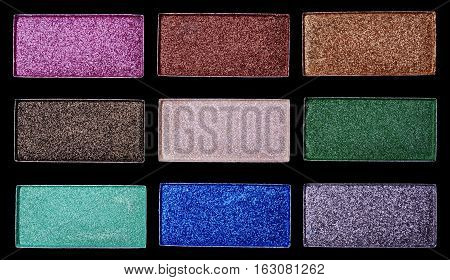 Makeup shiny colorful eyeshadow palettes. Facial cosmetics.