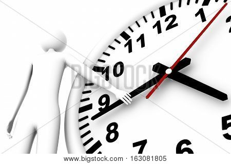 Man keeps hand of the arrow hours this pause or checking of time Checking of time 3d illustration