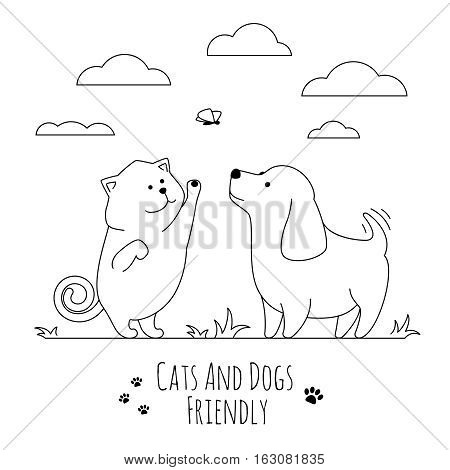 Pets friends. Dog and cat playing together doodle on lawn in linear style. Vector illustration
