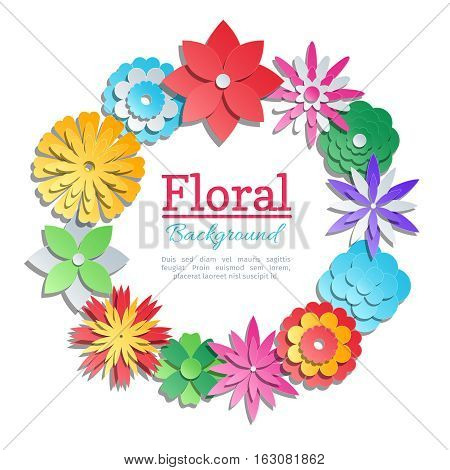 Origami paper flowers invitation card. Vector paper cut floral design template. Banner with paper colored origami illustration