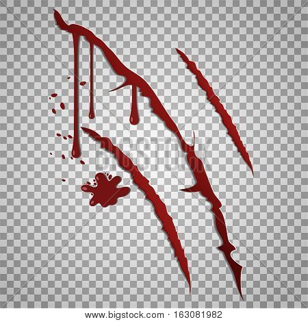 Bloody scratch marks. Vector incised wounds with blood drops, Blood from damaged injury illustration