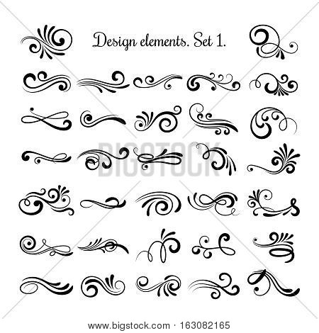 Swirly line curl patterns isolated on white background. Vector flourish vintage embellishments for greeting cards. Collection of filigree frame decoration illustration poster