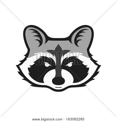 Raccoons head logo for sport club or team. Animal mascot logotype. Template. Vector illustration. Flat style