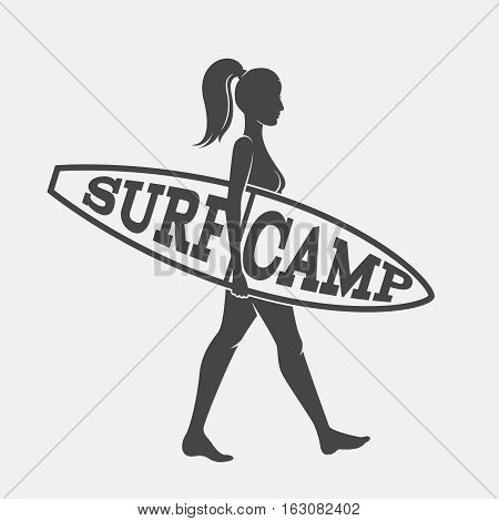 Woman goes surfing with surfboard. Surf camp logo. Vector illustration. Flat