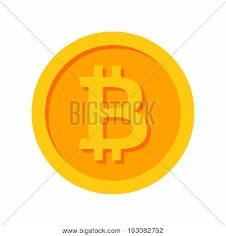 Golden bitcoin icon for cryptocurrency, virtual currency, digital money, ecash