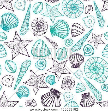 Beach Seashell Pattern. Vector seamless pattern with seashells doodle style. Tattoo
