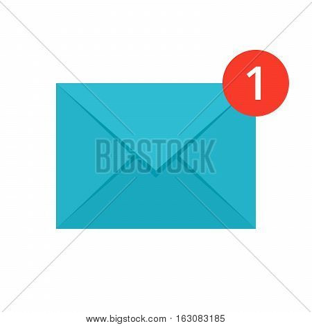 Concept of new message icon like a envelope with notification
