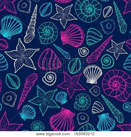 Beach Seashell Pattern. Vector seamless pattern with seashells doodle style. Tattoo