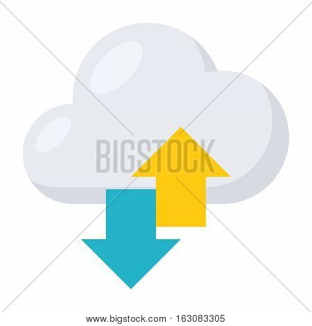 Concept of Saas or Software as a service like a cloud and arrows