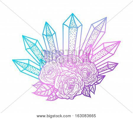 Blackwork tattoo of rose and crystals bouquet. Very detailed vector illustration. Boho design for print, posters, t-shirts. Hand drawn