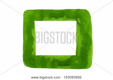 Green Watercolor Design Element Isolated On White Background.