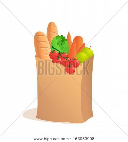 Full paper bag with food. Vector illustration in cartoon style. Groceries. Bread apple and carrot