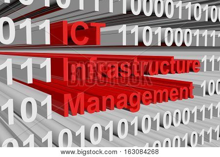 ICT Infrastructure Management is presented in the form of binary code 3d illustration