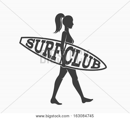 Woman goes surfing with surfboard. Surf club logo. Vector illustration. Flat