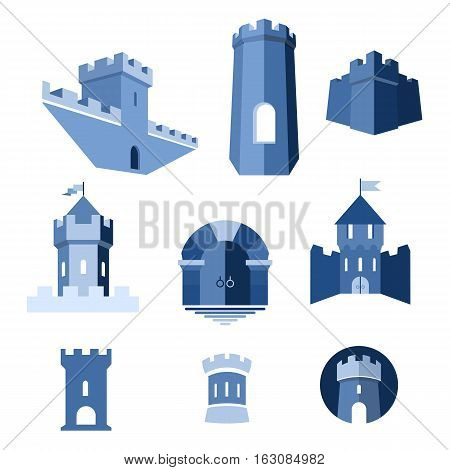 Castle tower turret kingdom fortress and castle gate vector icon