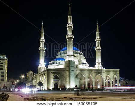 Mohammad Al Amin Mosque landmark in central Beirut city lebanon at night