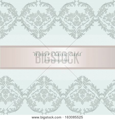 Vintage Baroque Winter Invitation card Imperial style. Vector decor background. Luxury Classic ornament. Royal Victorian floral for birthday, wedding, textile print, wallpaper, wrapping paper