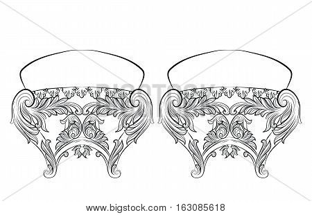 Rich Baroque Rococo chair. French Luxury rich carved ornaments furniture. Vector Victorian exquisite Style decorated wooden structure
