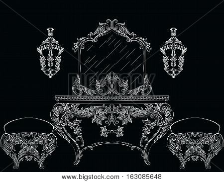 Exquisite Fabulous Rich Baroque Rococo furniture. French Luxury rich carved ornaments. Vector Victorian Style decor