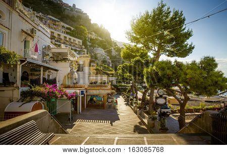 Amalfi Coast - view on promenade in Positano Italy