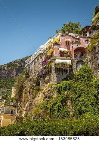 Amalfi Coast - house on rock in Positano Italy