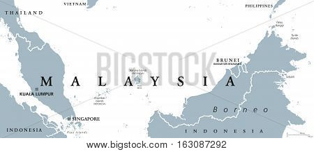 Malaysia Political Map Capital Vector Photo Bigstock