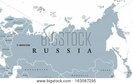 Russia political map with capital Moscow, national borders and neighbor countries. Russian Federation, a federal state in Eurasia. Gray illustration with English labeling on white background. Vector.