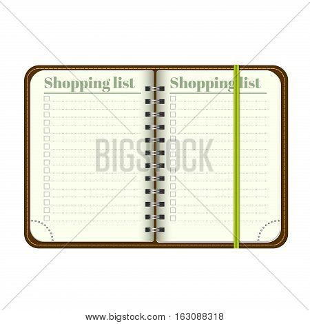 Book with blank Shopping list. Template Open a blank notepad. Vector personal organizer with a bookmark. Isolated on white background.