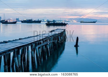 Wooden bridge in clan jetty for background