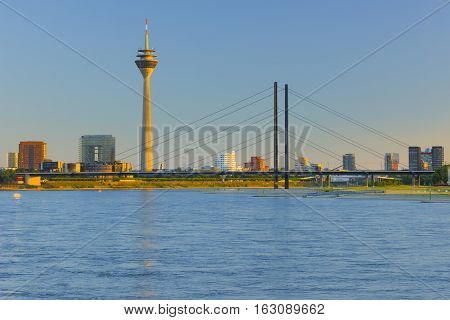 Cityscape of Dusseldorf at sunset time in summer